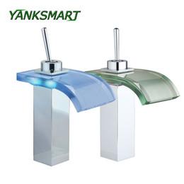 Wholesale Led Bathroom Sink Faucets - YANKSMART Waterfall LED Deck Mounted Bathroom Basin sink Tap Chrome W  Glass Spout Mixer Tap Single handle Faucet