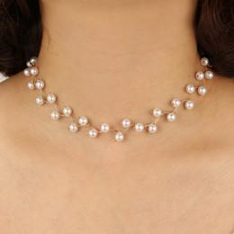 collana di perle per il giorno delle nozze Sconti 2018 Elegante collana di girocollo simulata per le donne, festa di nozze, collare di gioielli di gioielli, collana, regalo di san valentino