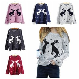 Wholesale Elk Clothes - Women Christmas Sweater Autumn Winter Casual Elk Knitted Xmas Sweaters Long Sleeve Woman Pullover Jumper Clothing KKA3619