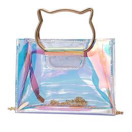 metallketten für handtaschen Rabatt Neueste Transparente Hologramm Umhängetaschen Laser Handtaschen Mini Kette Klar Clutch Bag Cat Metallgriff Design Bling Mode Tasche Geschenk