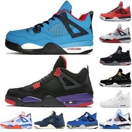 450ecfe4e85bf0 4 4s Travis Scotts Cactus Jack Mens Basketball Shoes Raptors Kaws Denim  Eminem Pure Money Royalty Green Glow men sports sneakers designer
