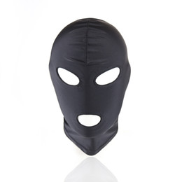 Wholesale Full Latex Hood - Sexy PU Leather Latex Hood Black Mask 4 tyles Breathable Headpiece Fetish BDSM Adult for party