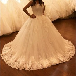 2019 Newest Cheap Ball Gown Wedding Dresses Sheer Lace Square Neck Appliques Floor Length Plus Size Bridal Gowns