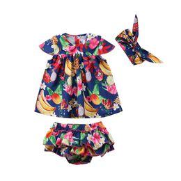 Wholesale Baby Bloomer Dress - 3pcs Toddler Newborn Baby Girl T-shirt Dress Bloomer Headband Outfit Set Clothes