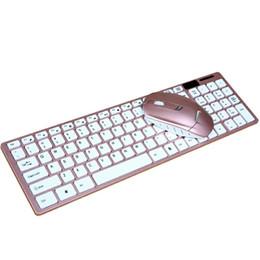 Teclado táctil dorado online-Juego de teclado y ratón Combos inalámbricos Slim Rose Gold Color 2.4GHz Teclado Combos táctiles cómodos con receptor para damas de oficina