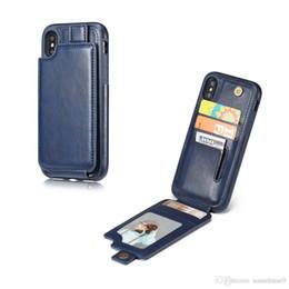 Canada Vertical Flip Down En Cuir Wallet Case Multi Carte Slot Magnet Fermeture Cadre Photo Pour iPhone X 8 7 Plus Samsung S8 OPPBag Offre