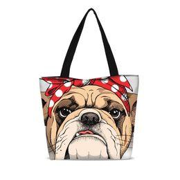 Nuevo Bulldog Lindo Portátil Plegable Bolsa de Compras Lona Grande Niñas Escuela Bookbag Plegable Ripstop Bolso de Hombro Envío de la gota desde fabricantes