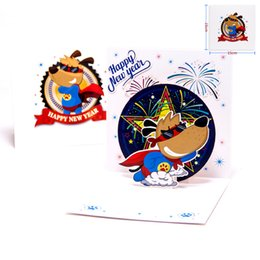 Wholesale Laser Cut Cards Holiday - Happy New Year Super Dog 3D laser cut pop up paper Holiday handmade postcard custom Chinese Spring Festival Greeting Cards Gifts