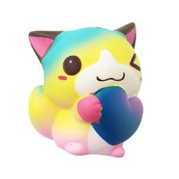 14cm Squishy Jumbo kawaii Colore Love Cat Squishy Slow Rising Spremere Charms Giocattoli Antistress Cinturino per cellulare Squishi Kid Juguetes da