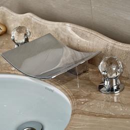 Wholesale Chrome Glass Bathroom Basin Sink - Wholesale-Polished Chrome Deck Mounted Waterfall Bathroom Basin Faucet Crystal Glass Balls Handles Sink Mixer Tap
