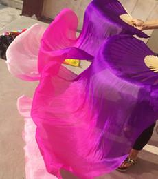danse du ventre rose Promotion Enfants Adultes Fabriqués À La Main En Soie Colorée Bambou Flamme Danse Du Ventre Long Pliant Fan Voiles Art Coloré Violet Rose Livraison Gratuite