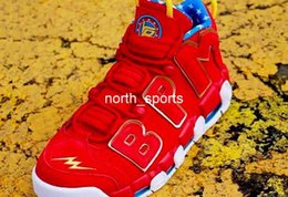 Wholesale New Style Basketball Shoes - 2018 New Style Air More Uptempo Doernbecher Red Suede Mens Basketball Shoes High Quality Retro Sneakers Athletic Sport Size US 7-12