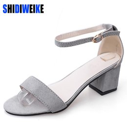 Wholesale Korean Pink Heels - SHIDIWEIKE Ltarta Summer Women Sandals Open Toe Flip Flops Women's Sandles Thick Heel Women Shoes Korean Style Gladiator Shoes
