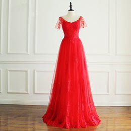 Wholesale Pink Eye Photos - Eye Catching Red Evening Dresses Long Tulle Lace Prom Dresses Long V-Neck Zipper Back Custom Made Plus Size Black,Royal Blue,Silver