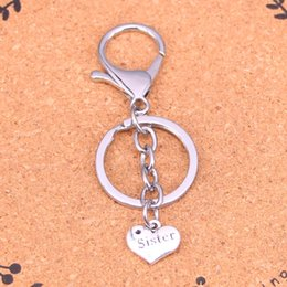 Wholesale Double Heart Keychain - Fashion double sided heart sister keychain can be used for car key accessories bag accessories