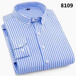 2018 para hombre de negocios de manga larga camisa de los hombres 4XL más el tamaño de la camisa clásica a rayas hombre social vestido camisas Outwear desde fabricantes
