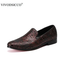 Wholesale Pageant Slips - VIVODSICCO New Men Trendy Mahjong Loafers Dress Shoes Italy Mlae Homecoming Prom Party Pageant Wedding Slippers Shoes Moccasins