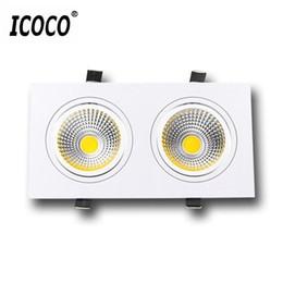 2019 luces de techo para tiendas ICOCO 3W COB LED Spot Light Jefes dobles Tienda de ropa Lámpara de techo Sala de exposiciones Galería Toggery Decoración Abajo lámpara luces de techo para tiendas baratos