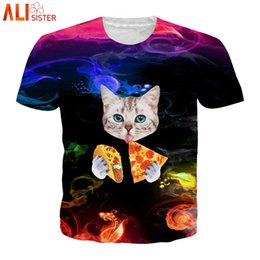 d909111b Alisister Galaxy Space Pizza Cat T Shirt Men Women Animal 3d Print Funny  Tshirts Short Sleeve O Neck Streetwear Camisa Dropship