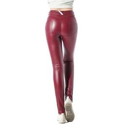 f4dae0dab77b94 2019 rote lederhose für frauen Dame PU-Leder Leggings Europa RussiaTrend  Mädchenart und weise nehmen