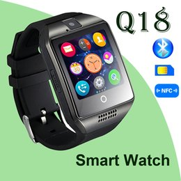 Wholesale Wholesale Connections - Q18 Bluetooth Smart Watch Support SIM Card NFC Connection Health Smartwatches For Android Smartphone with Retail Package free DHL