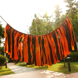 Wholesale window halloween - Colorful Hanging Flags Ribbon Cloth Pull Flag For Christmas Halloween Window Wedding Decorations Banner Photography Props Popula 17jza B