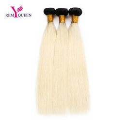 Wholesale Silky Straight Remy Blonde Weave - Dream Remy Queen 1B 613 Honey Blonde Hair Indian Silky Straight 3 Bundles a lot Ombre Bundles