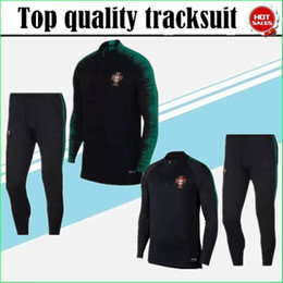 Wholesale mens sweaters clothing - 2018 World Cup Portugal soccer tracksuit 18-19 PORTUGAL Training suit pants football training clothes sportswear mens Sweater