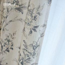 cortina estilos plissados Desconto 2018 novo coon e cortinas de linho para sala de estar sala de jantar quarto impresso meia sombra da janela da cortina de sombreamento