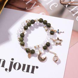 Корейская звезда девушка онлайн-2018 New Korean Crystal  Double Layer Bracelet Sweet Girl Star Moon Luminous  Bracelet for Women Cute Accessories