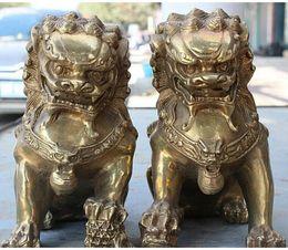 2019 estatua de león VChinese FengShui Copper Brass Evil Door Guardian Fu Foo Dogs Lion Statue Par rebajas estatua de león