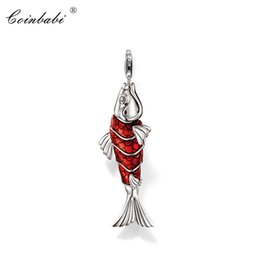 Кой моды онлайн-Pendant Lucky Red Koi Fish 925 Sterling Silver For Women Classic Gift Style Glam Chains Fashion Pendant Fit Ts Necklace