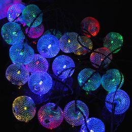 Metallo natale illuminato alberi online-6M AC100-240V 30 Leds String Light Metal Lanterna Marocchina Ghirlanda all'aperto per l'albero di Natale Wedding Party Brithiday Garden CF326