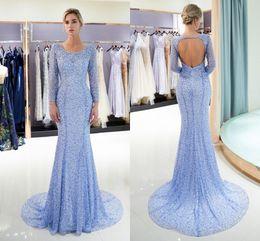ae2beb9ea2b robes de soirée Promotion Mode Élégant Col Rond Manches Longues Sirène  Lourde Perles Tulle Longue Robe
