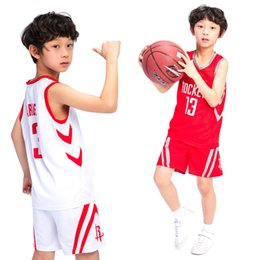 Wholesale Children Size Jerseys - Child Jerseys James Harden 13 Basketball Jerseys Suit Tops + Shorts For Kids Size(2XS To 2XL)Two Colour White And Red