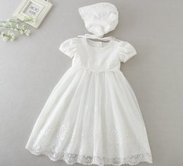 Wholesale newborn baby dress clothes - Newborn baby Baptism long Dress with hats 2018 Christening Gown Girls' short sleeve party Infant Princess wedding dresses baby clothing