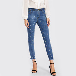 Mezclilla blanqueada online-Pantalones Sweety Pearl Beaded Frayed Hem Jeans Casual Womens Skinny Jeans Denim Autumn High Waist Bleached Women Zipper Pants