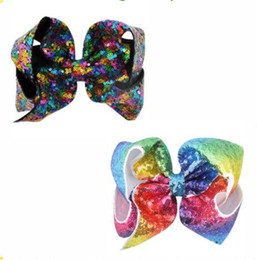 """Wholesale large black hair bow - JOJO SIWA INSPIRED LARGE 7"""" GIRLS WOMEN RAINBOW SPARKLE SEQUINED HAIR BOW NEW hair clip Hair accessories 8pcs"""