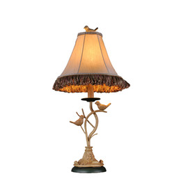 Wholesale Iron Table Lamp Vintage - Vintage European American Country Handmade Resin Birds Fabric Led E27 Table Lamp For Living Room Bedroom H 61cm 80-265v 1256