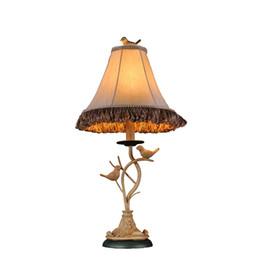 Wholesale Vintage Bird Lamp - Vintage European American Country Handmade Resin Birds Fabric Led E27 Table Lamp For Living Room Bedroom H 61cm 80-265v 1256