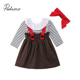 Симпатичные детские повязки онлайн-2018  New Autumn Pretty Cute Toddler Baby Girls Dress Long Sleeve Dot Striped Overalls A-Line Ruffled Dress Headband 6M-5Y