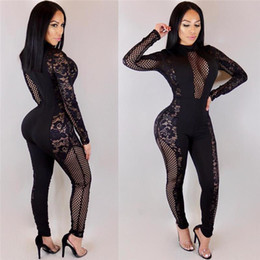 06c83d7ad0b 2018 Summer Women Lace Patchwork Jumpsuits Rompers Skinny Long Pants Black Female  Overalls Sexy Club Stand Neck Jumpsuit