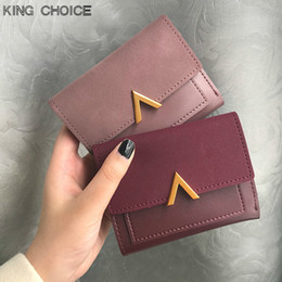 Wholesale womens purse wallets branded - Matte Leather Small Women Wallet Luxury Brand Famous Mini Womens Wallets And Purses Short Female Coin Purse Credit Card Holder