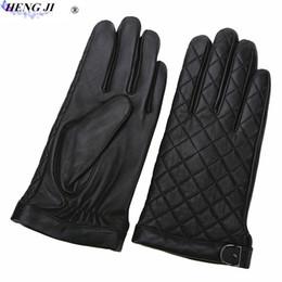 Guantes bordados online-Guantes de cuero bordados HENG JI para hombre, guantes de piel de oveja calientes, a prueba de frío en invierno, de alta calidad, envío gratis