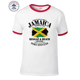 Wholesale Funny Countries - 2017 Fashion New Gift Tee Round Collar Reggae & Beach Country Jamaica Portland Flag Funny Cotton T Shirt for men