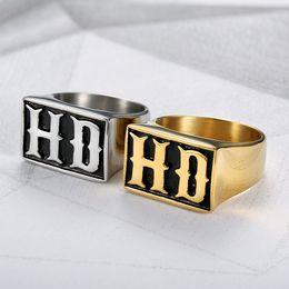 anel de casal de ouro branco de 14k Desconto MC Letras HD Homens Anel Do Punk Rock Hip Hop Jóias Na Moda Masculina Anéis de Ouro Cor Prata Titanium Aço Inoxidável Biker Banda DCR064