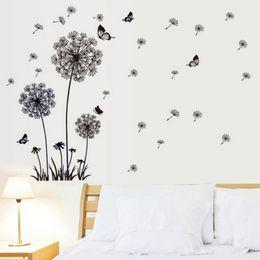 Adesivi volanti della farfalla online-Farfalla Volare In Tarassaco Camera da letto Adesivi Poastoral Adesivi murali in stile design originale PVC Stickers murali Spedizione gratuita