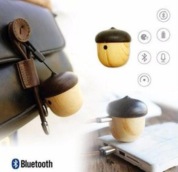 Wholesale Iphone Stereo Player - Mini wooden bluetooth portable nut speaker mini travel built-in microphone speaker for iPhone and Android wooden nut stereo retail factory w
