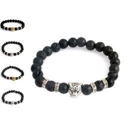 Wholesale power heads - 2018 leopard Head Charm Bracelets Black Lava Beads Natural Stone Buddha Bracelet Bangle Cuffs for Women Yoga Power Jewelry 162429