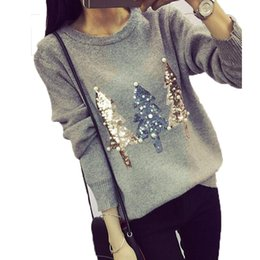 cd406a35cc Ugly Christmas Sweater Women 2017 Winter Korean Fashion O-Neck Long Sleeve  Sequin Christmas Tree Knitted Sweater jumper Female